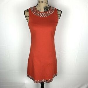 Trina Turk coral / red dress with silver studs